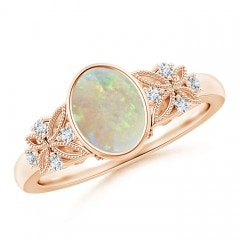 Vintage Style Oval Opal Ring with Diamonds
