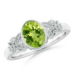 Vintage Style Oval Peridot Ring with Diamonds