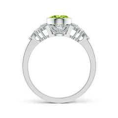 Toggle Vintage Style Oval Peridot Ring with Diamonds