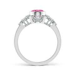 Toggle Vintage Style Oval Pink Sapphire Ring with Diamonds