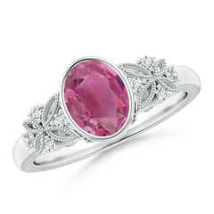 Bezel Set Vintage Oval Pink Tourmaline Ring with Diamond Accents