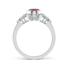 Toggle Vintage Style Oval Pink Tourmaline Ring with Diamonds
