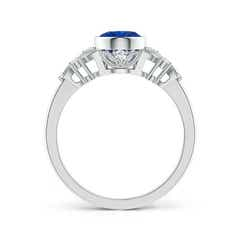 Toggle Vintage Style Oval Sapphire Ring with Diamonds