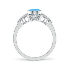 Toggle Vintage Style Oval Swiss Blue Topaz Ring with Diamonds
