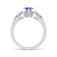 Toggle Vintage Style Oval Tanzanite Ring with Diamonds