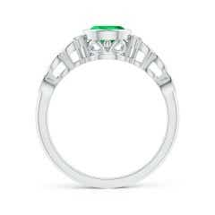Toggle Bezel Set Vintage Pear Emerald Ring with Diamond Accents