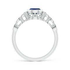 Toggle Bezel Set Vintage Pear Sapphire Ring with Diamond Accents