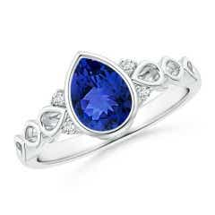 Bezel Set Vintage Pear Tanzanite Ring with Diamond Accents