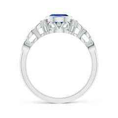 Toggle Bezel Set Vintage Pear Tanzanite Ring with Diamond Accents