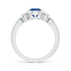 Toggle Bezel-Set Round Blue Sapphire Solitaire Ring with Diamonds