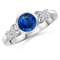 Bezel Set Round Blue Sapphire Solitaire Ring with Diamond Accents