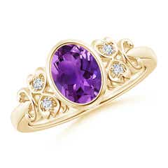 Vintage Style Bezel-Set Oval Amethyst Ring with Diamonds
