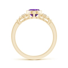 Toggle Vintage Style Bezel-Set Oval Amethyst Ring with Diamonds