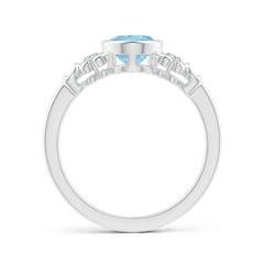 Toggle Vintage Style Bezel-Set Oval Aquamarine Ring with Diamonds
