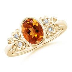 Vintage Style Bezel-Set Oval Citrine Ring with Diamonds