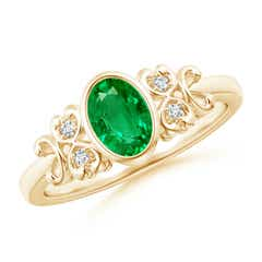 Vintage Style Bezel-Set Oval Emerald Ring with Diamonds