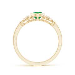 Toggle Vintage Style Bezel-Set Oval Emerald Ring with Diamonds
