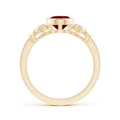 Toggle Vintage Style Bezel-Set Oval Garnet Ring with Diamonds