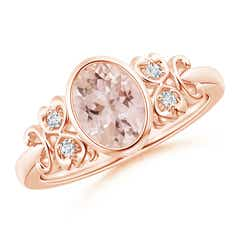 Vintage Style Bezel-Set Oval Morganite Ring with Diamonds