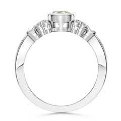 Vintage Oval Moissanite Bezel Ring with Moissanite Accents