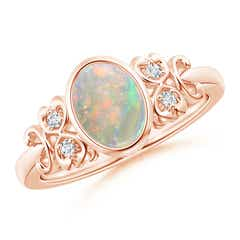 Vintage Style Bezel-Set Oval Opal Ring with Diamonds