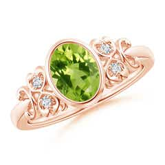 Vintage Oval Peridot Bezel Ring with Diamond Accents