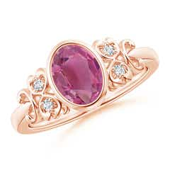 Vintage Oval Pink Tourmaline Bezel Ring with Diamond Accents
