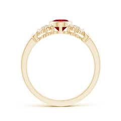 Toggle Vintage Style Bezel-Set Oval Ruby Ring with Diamonds