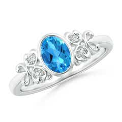 Vintage Oval Swiss Blue Topaz Bezel Solitaire Ring with Diamonds
