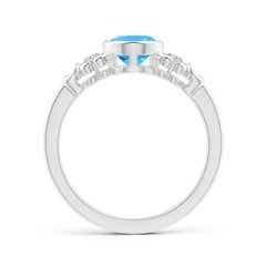 Toggle Vintage Style Bezel-Set Oval Swiss Blue Topaz Ring