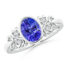 Vintage Style Bezel-Set Oval Tanzanite Ring with Diamonds