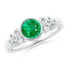 Vintage Style Round Emerald Ring with Pear Motifs