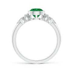 Toggle Vintage Style Round Emerald Ring with Pear Motifs