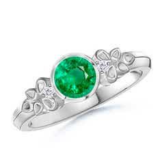 Vintage Round Emerald Bezel Ring with Diamond Accents