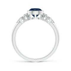 Toggle Vintage Style Round Blue Sapphire Ring with Pear Motifs