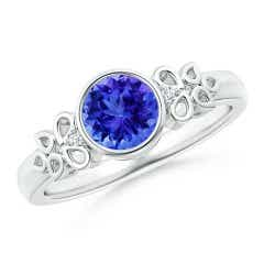 Vintage Style Round Tanzanite Ring with Pear Motifs