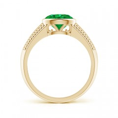 Toggle Vintage Inspired Bezel-Set Oval Emerald Ring with Grooves