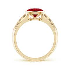 Toggle Vintage Inspired Bezel-Set Oval Ruby Ring with Grooves