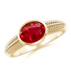 Vintage Inspired Bezel-Set Oval Ruby Ring with Grooves