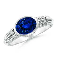 Vintage Inspired Bezel-Set Oval Sapphire Ring with Grooves