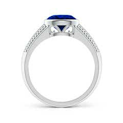 Toggle Vintage Inspired Bezel-Set Oval Sapphire Ring with Grooves