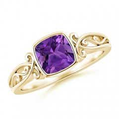 Vintage Style Cushion Amethyst Solitaire Ring