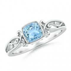Bezel Set Cushion-Cut Aquamarine Vintage Solitaire Ring