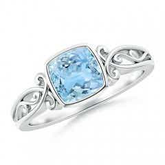Vintage Style Cushion Aquamarine Solitaire Ring