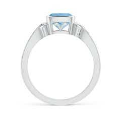 Toggle Vintage Style Cushion Aquamarine Solitaire Ring