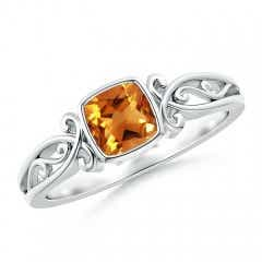 Bezel Set Cushion-Cut Citrine Vintage Solitaire Ring