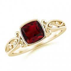 Vintage Style Cushion Garnet Solitaire Ring