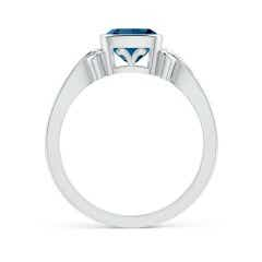 Toggle Vintage Style Cushion London Blue Topaz Solitaire Ring