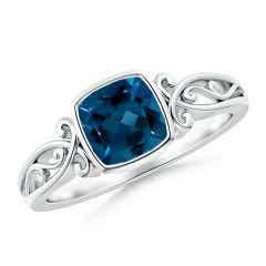 Vintage Style Cushion London Blue Topaz Solitaire Ring