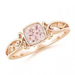 Vintage Style Cushion Morganite Solitaire Ring